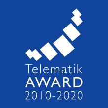 """logo_telematik-award_2010-2020_blau_7 #TelematikTalk: """"Transport und Logistik nach Corona - Wie sicher kommt der Digitalisierungsschub?"""""""